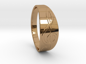 Size 7 M G-Clef Ring  in Polished Brass