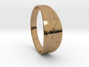 Size 10 M G-Clef Ring  in Polished Brass