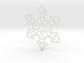 Snowflake Pendant 3 in White Strong & Flexible