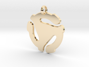 45 record adapter Pendant in Superman style in 14K Yellow Gold