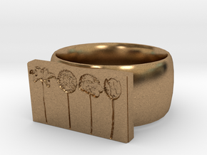 Flower Ring Version 9 in Natural Brass