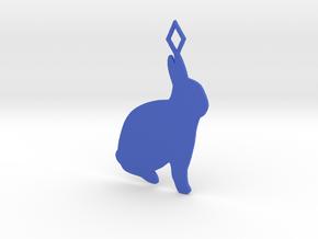 Rabbit pendant in Blue Processed Versatile Plastic