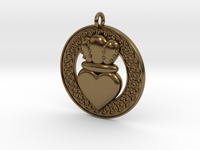 Claddagh Pendant 1 Model in Polished Bronze