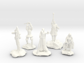 Sorcerer, Bard, Cleric, Paladin, and Rogue in White Processed Versatile Plastic