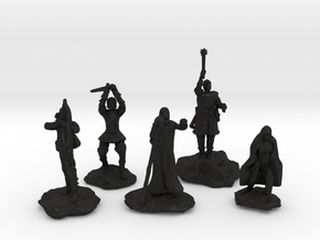 Sorcerer, Bard, Cleric, Paladin, and Rogue in Black Acrylic