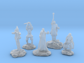 Sorcerer, Bard, Cleric, Paladin, and Rogue in Smooth Fine Detail Plastic