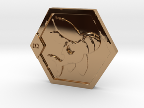 Medabots Kabuto Medal Tribute art V1 in Polished Brass
