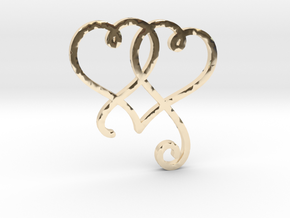 Linked Swirly Hearts (~4mm depth) in 14K Yellow Gold
