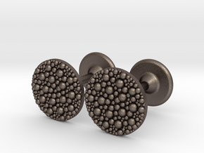 Granulated Cufflinks  in Polished Bronzed Silver Steel