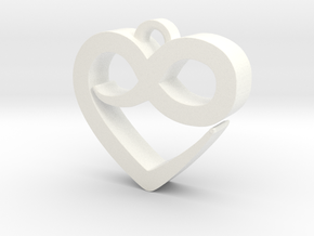 Infini Heart Necklace in White Strong & Flexible Polished