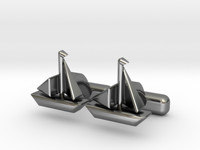 Yacht Cufflinks in Fine Detail Polished Silver