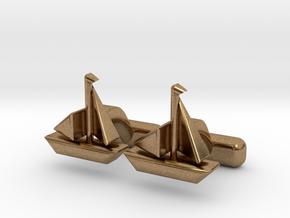 Yacht Cufflinks in Natural Brass