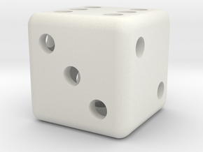 6 Sided Die Hollow 2cm in White Strong & Flexible