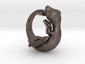 Gecko Size9 in Polished Bronzed Silver Steel