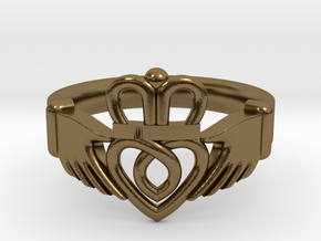 Traditional Claddagh Ring in Polished Bronze: 5 / 49