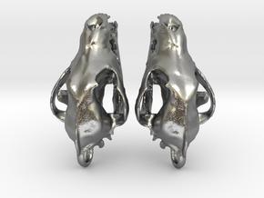Wolf Skull Earrings in Natural Silver