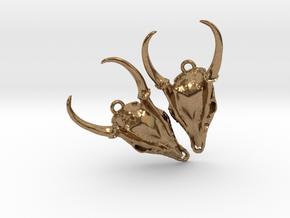 Muntjac Skull Earrings in Raw Brass