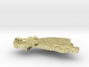 Burkina Faso Terrain Silver Pendant in 18K Gold Plated