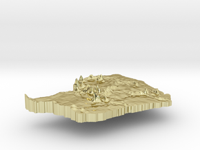 French Guiana Terrain Silver Pendant in 18K Gold Plated