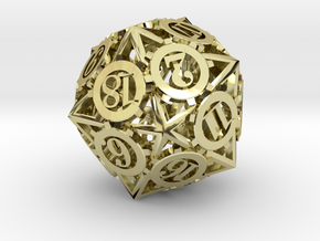 Steampunk Gear d20 in 18K Gold Plated