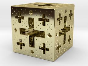 Jerusalem Cube Fractal Pendant in 18K Gold Plated