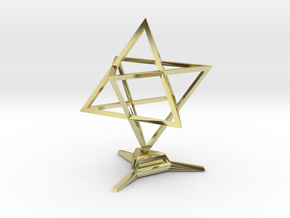 Merkaba Sharp - w Base - 4cm in 18K Gold Plated