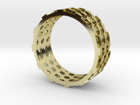 Parquet Deformation Ring (59mm) in 18K Gold Plated