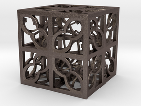 Box Hyper Fractal DR34 75mm in Polished Bronzed Silver Steel