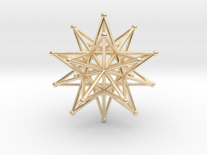 Stellated Icosahedron 40mm Sacred Geometry in 14K Yellow Gold