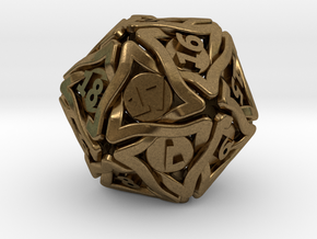 'Twined' Dice D20 Spindown Life Counter Die 24mm in Natural Bronze