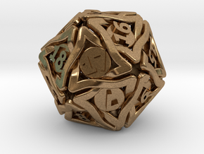 'Twined' Dice D20 Spindown Life Counter Die 24mm in Natural Brass