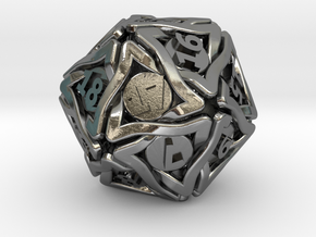 'Twined' Dice D20 Spindown Life Counter Die 24mm in Polished Silver