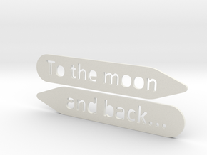 Collar stay: To The Moon and back... in White Natural Versatile Plastic
