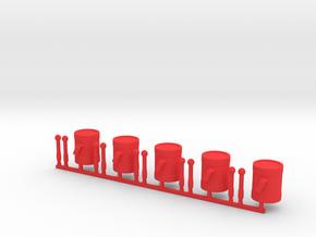 5 x Drums in Red Processed Versatile Plastic