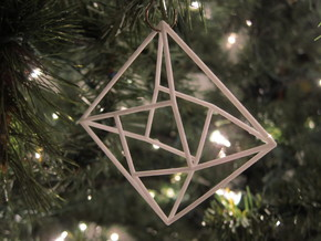 Diamond Christmas Ornament in White Natural Versatile Plastic