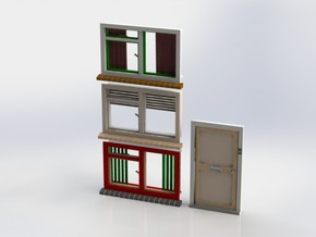 Set A001 of windows and door. Scale 1 / 1:32 / 1:3 in White Natural Versatile Plastic