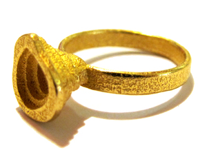 Gold Mine ring - UK N (inside diameter 17.2mm) in Polished Gold Steel