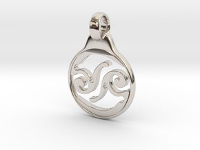 Aeon Tribe Logo Pendant in Rhodium Plated Brass