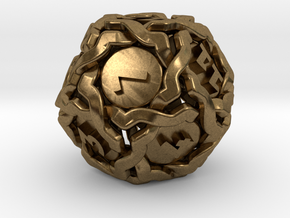 'Twined' Dice D12 Gaming Die (20mm) in Natural Bronze