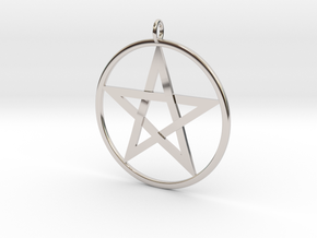 Pentacle Pendant - braided in Rhodium Plated Brass