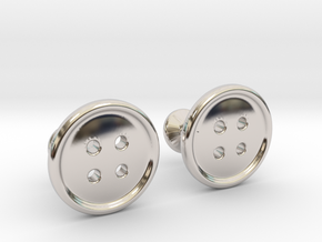 Button Cufflinks in Rhodium Plated Brass