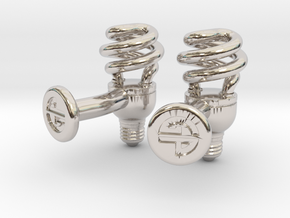 CFL Bulb Cufflinks in Rhodium Plated Brass