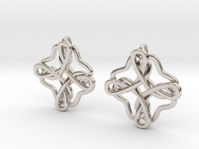 Friendship knot earrings in Rhodium Plated Brass