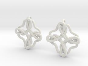 Friendship knot earrings in White Natural Versatile Plastic