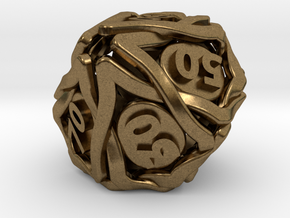 'Twined' Dice 10D10 (Decader) Gaming Die in Natural Bronze