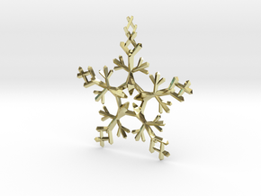 Snow Flake 5 Points - w Loopet - 7cm in 18K Gold Plated