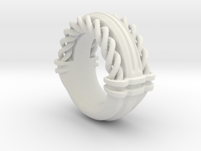 Rope Ring Print in White Natural Versatile Plastic