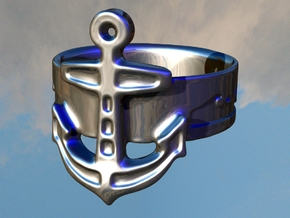 Anchor Ring - size 8 in Polished Silver