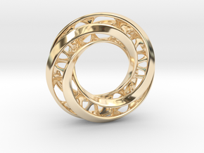 Mobius Ring Pendant v4 in 14k Gold Plated Brass