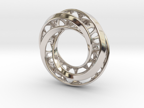 Mobius Ring Pendant v4 *Small* in Rhodium Plated Brass